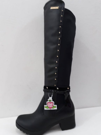 Bota Over The Knee Preto Pink Cats Universo Dakota