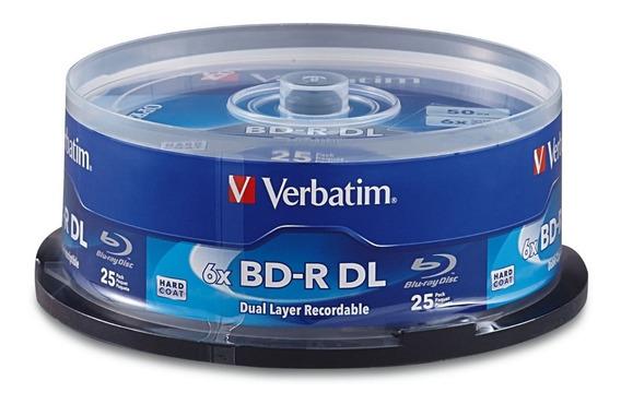 Mídia Blu-ray 6x Lisa Verbatim Bd-r Dl 50gb - 25 Unidades