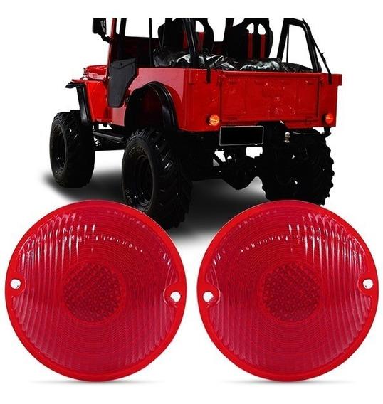 Par Lente Lanterna Traseira Jeep Willys 58 À 79 Com Vigia
