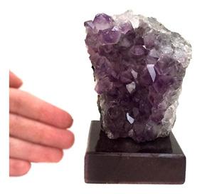 Drusa Cristal Ametista Bruta Decoração Base Madeira 10cm 887
