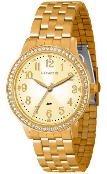 Relogio Lince Feminino Dourado Lrg4256l C2kx Original Lindo