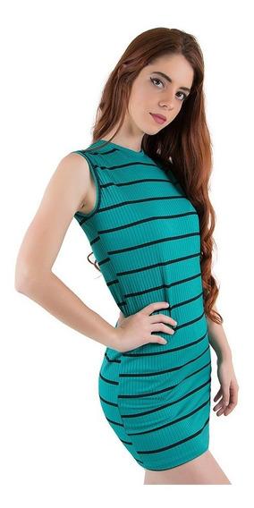 Vestido Curto Justo Canelado Moda Roupas Femininas