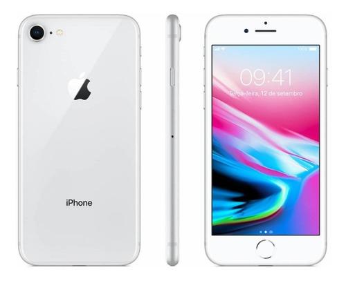 Usado: iPhone 8 64gb Prata Tela 4.7  Ios 4g - Laol