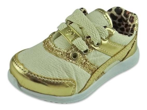 Tênis Baby Glitter Onça - Dourado