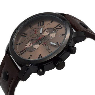 Relógio Masculino De Pulseira De Couro, Preto/ Marrom