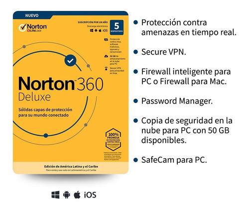 Norton 360 Deluxe - 5 Dispositivos, 1 Año