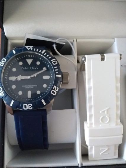 Reloj Nuevo Set Nautica Silicon/rubber Azul Y Blanco N11601g
