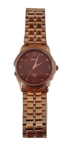 Relógio Analógico Seculus Fundo Vermelho Pulseira Dourada