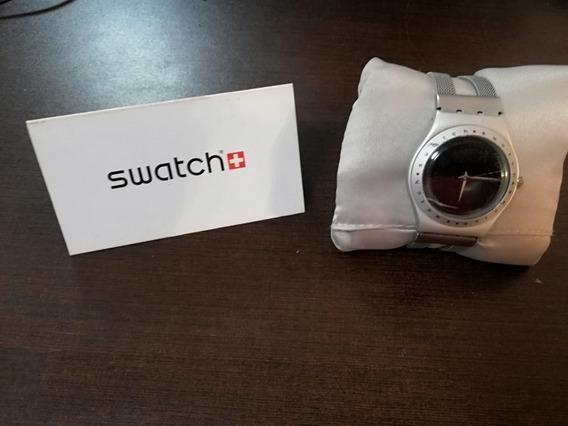 Reloj Swatch De Dama Carátula Negra De Aluminio