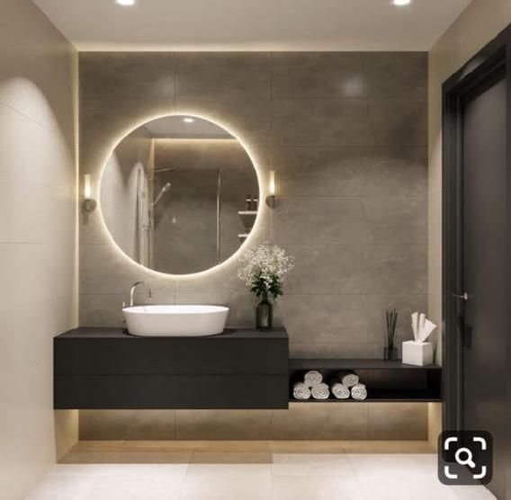 Espejo Redondo Diámetro 80cm Con Luz Y Bastidor + Envio