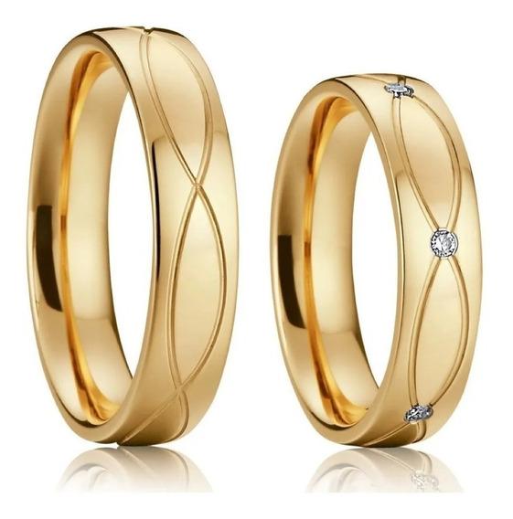 Par Alianças Banho Ouro18k 5mm Tungstênio Casamento Noivado