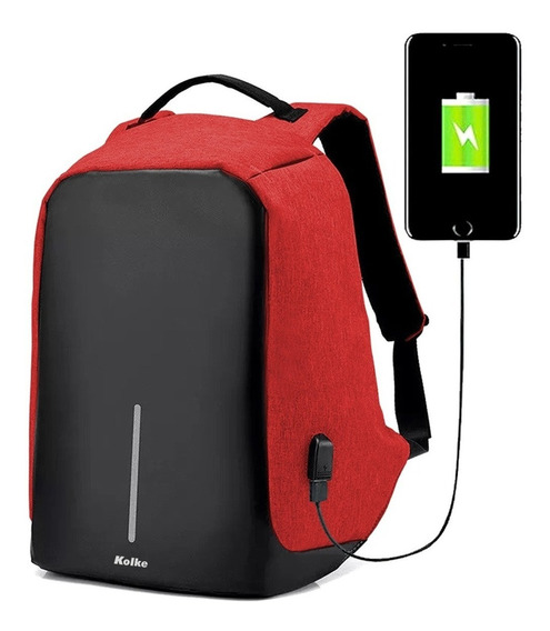 Mochila Antirrobo Impermeable Usb P/ Power Bank