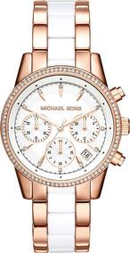 Relógio Michael Kors Mk6324 Ritz Orig Chron Anal Gold White