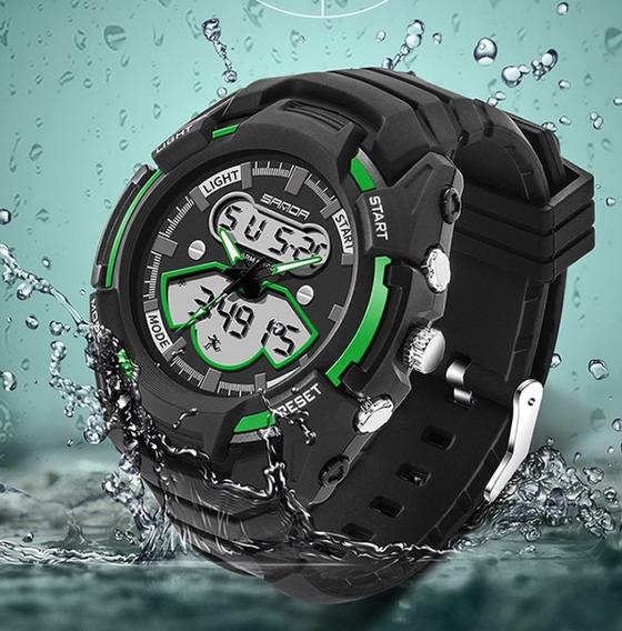 Relógio De Pulso Masculino Verde Esportivo Resistente A Agua