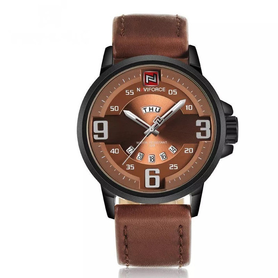 Relógio Masculino Naviforce 9086 Original Pulseira De Couro