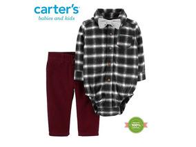 Conjunto Carters Camisa Calça Gravata Kit 3 Peças 9 Meses