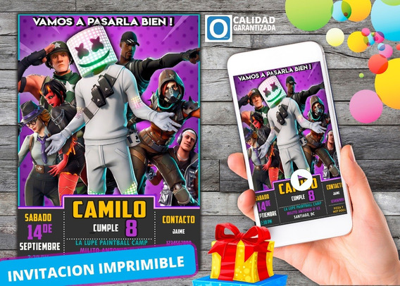 Invitación Digital Virtual De Fortnite Dj Marshmello