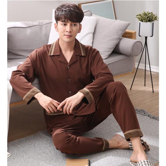 Pijamas Dos Homens Outono Mola Definir Roupa De Dormir , Lon