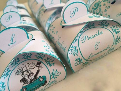 Imagem 1 de 2 de Caixinhas Bem Casado/doces Personalizada - 50unidades