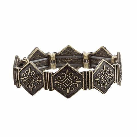 Bracelete Ouro Velho Boho Losangos