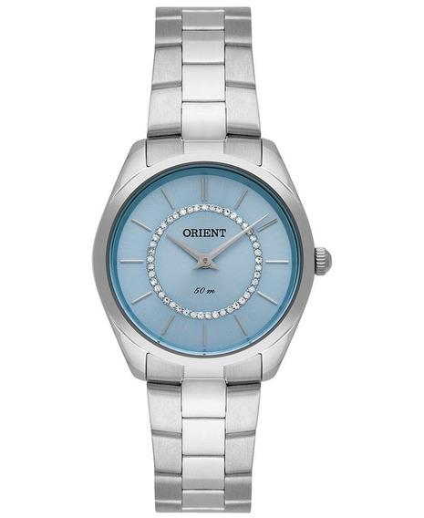 Relógio Orient Feminino Prateado Com Pedras Fbss0080 A1sx