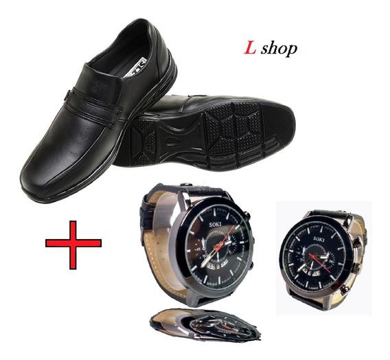 Relógio Social Masculino + Sapato Social Masculino Couro
