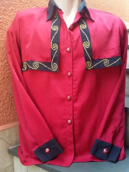 Blusa Linda Vermelha Com Bordados Semi-nova Tam M