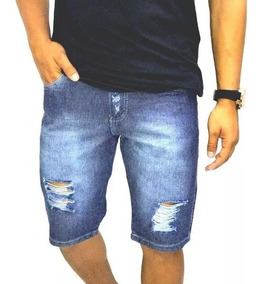 Kit 3 Bermuda Short Jeans Slim Masculina Destroyed Rasgada