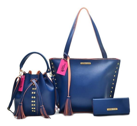 Bolsa Karina Rosa Shopper + Tira Color + Carteira Promoção