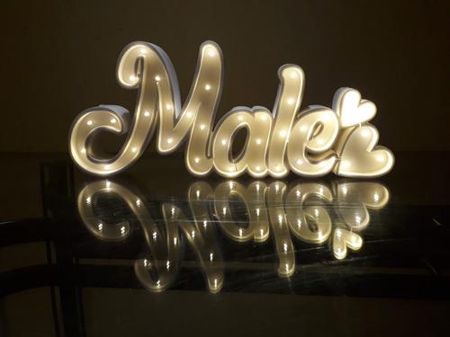 Nombres Iluminados 4 Letras 40 Cm - Polyfan Cartel Con Luces