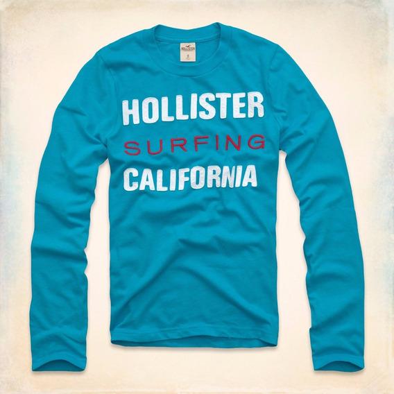 Camiseta Hollister Masculina Original Algodão Bordada Manga Longa Bermudas Moletom Blusas Frio Casacos Gap Abercrombie