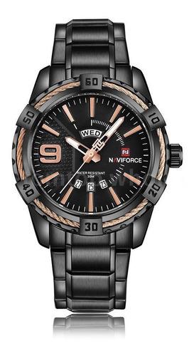 Relógio Masculino Naviforce Nf9117 Preto Calendario Duplo