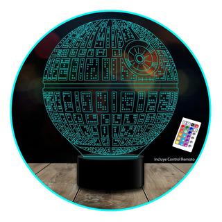 Lampara 3d Xl Star Wars Estrella De La Muerte Control Remoto