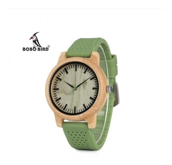 Relógio Unissex Madeira Analógico Verde B06 Bobo Bird