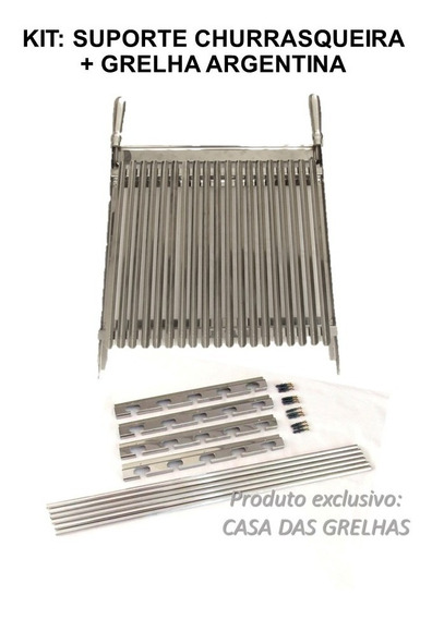 Conjunto Suporte Churrasqueira + Grelha Argentina Inox 40cm