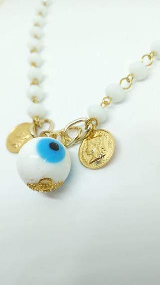 Colar Dourado Contas Grandes Olho Grego E Medalhas One Dolar