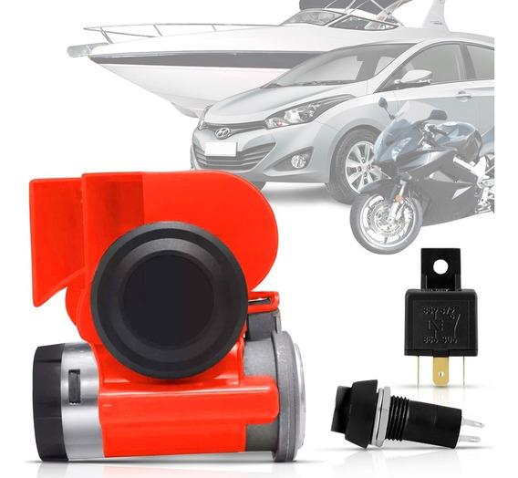 Buzina Automotiva Compacta 2 Corneta Carro Moto Maritima 12v
