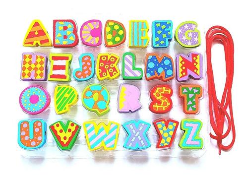 Alfabeto De Madeira Com 26 Letras Coloridas Educativo