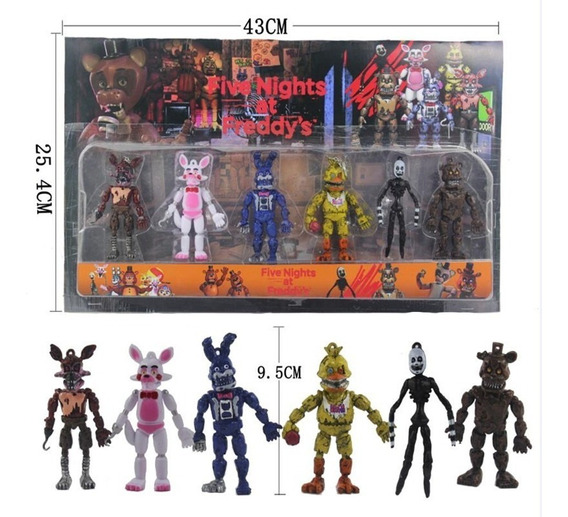 Kit 6 Action Figure Five Night Bonnie Foxy Freddy S253