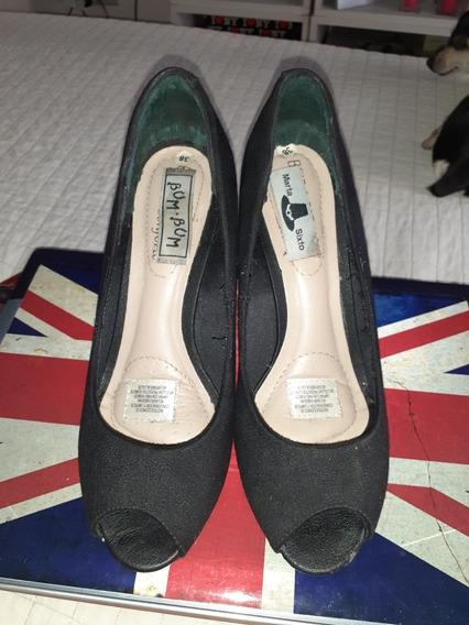 Zapatos Beira Rio Mujer Labrados Negros.38.taco Chino.oferta