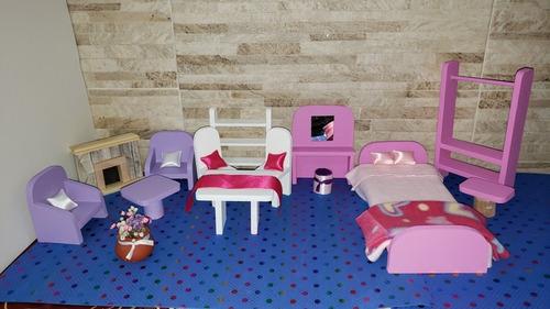 Muebles De Muñecas En Madera Tamaño Barbie 14 Piezas Almohad