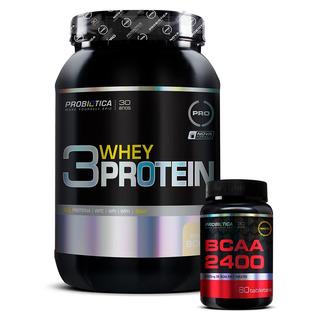 Whey Protein 3w 900g + Brinde Bcaa 2400 (60 Caps) Probiotica