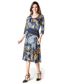 Vestido Malha Fria Estampa Moda Evangélica Midi Lindo 11502