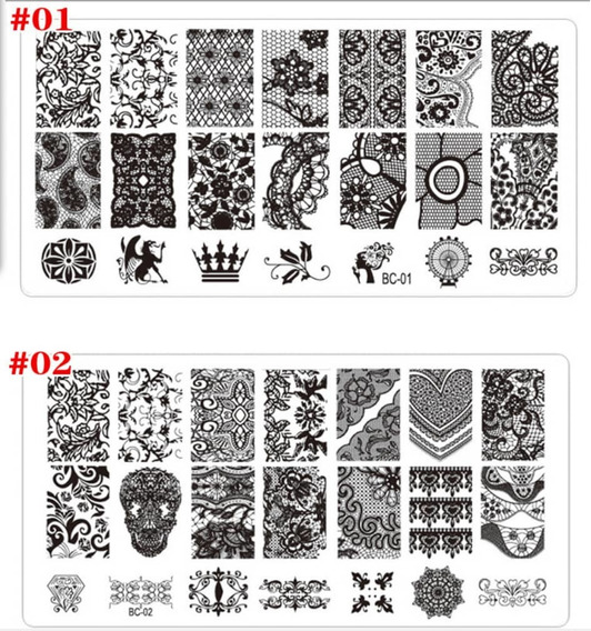 5 Unid Plantilla Stamping Pequeña Plastico Para Sello De Uña