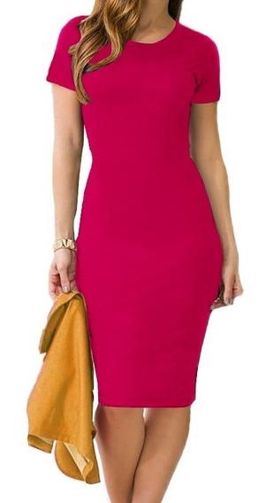 Vestido Midi Moda Evangélica Lisos Estampados Tubinho