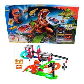 Pista De Carros Dinosaurio T-rex 10carros Com/hot Wheels Ajd