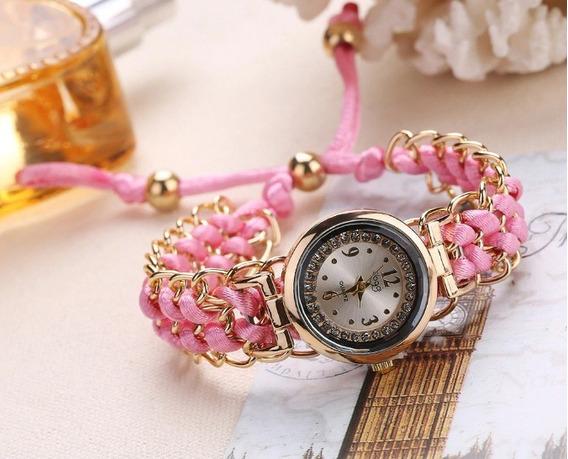 Relógio Feminino Pulseira Decorada Trico Corda Lindo Pequeno