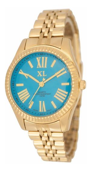 Reloj Xl Extra Large Moda Metal Dama Xl332 Turquesa