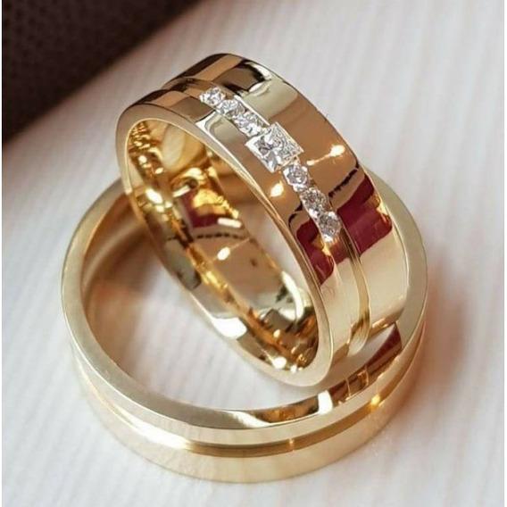Par De Alianças De Ouro 18k Luxo 6mm 16 Gramas Diamantes!!!