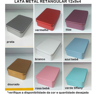 40 Latas Retangulares Rosa Metal 12x 9 Por 4 Cm De Altura